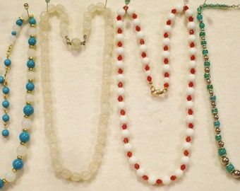 4 Vintage Single Strand Glass Beaded Necklaces