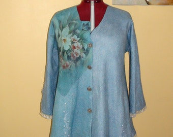 "Nuno felted  cardigan.. "" White iris"" floral light blue with lace Azure mint swing dress"