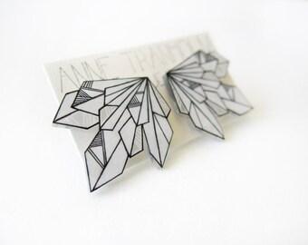 BLACK & WHITE Geometric stud earrings // bright, unique hand-drawn shrink plastic, post earrings, jewelry, jewellery, art, purple, green