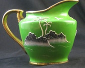 Antique 1920s Green Gold Raised Moriage Hand Painted  Tea Creamer Japan Island Scene