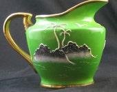 Antique 1920s Green Gold Raised Moriage Hand Painted  Tea Creamer Japan Island Scene