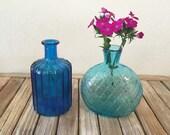 Vintage Set of Blue Bottles