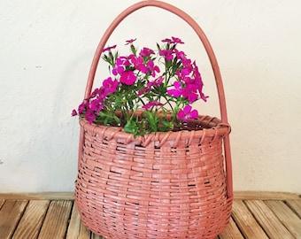 Vintage Pink Woven Basket