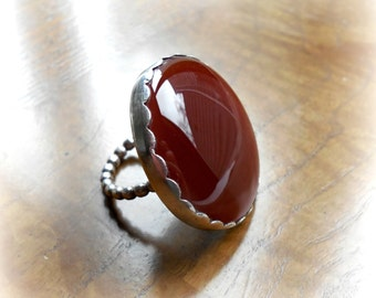 Carnelian sterling ring, vintage  1980's, handcrafted Native American, amber red color, gemstone statement, size 8, gift for her, Holiday