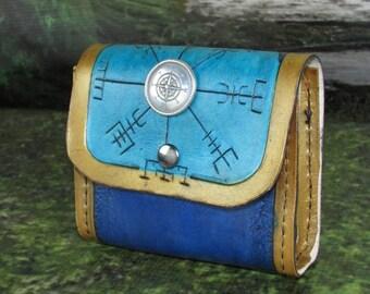 Leather Belt Pouch: Blue Vegvisir, Norse Compass, Belt pouch, Viking Belt Pouch, Hip Bag, Belt Bag, Leather Hip Bag, Belt Pocket
