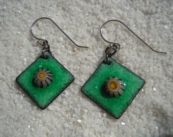 Green Enamel Earrings Dangle Earrings