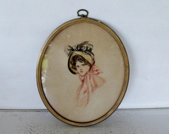 Vintage Oval Framed Sketch Watercolor Woman in Bonnet