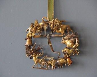 Brass Petite Choses Merry Christmas Wreath