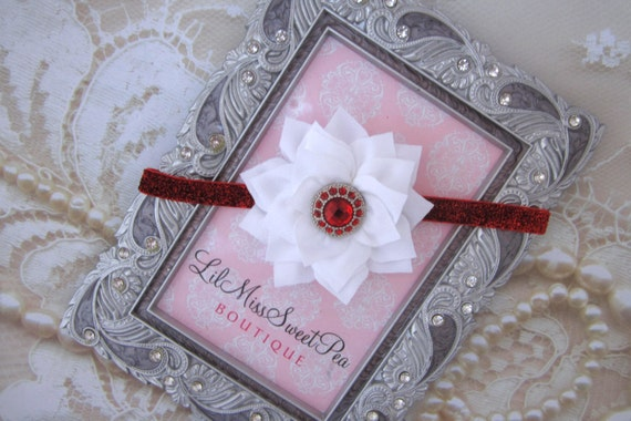 White Poinsettia Flower 3 inch on Red Glitter, or White Frosted Elastic Headband or on an alligator clip by Lil Miss Sweet Pea