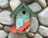 Beach Inspired Birdhouse Decorative Home Garden Decor, Garden & Patio Birdhouses, Heart Bird House Seaside Unique Yard Art, Item 384788744