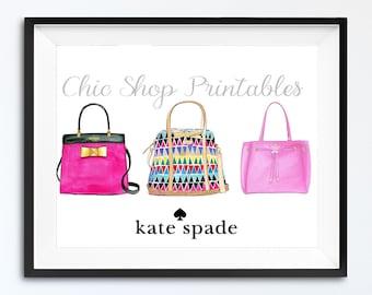 Kate Spade Handbags, Pink Kate Spade bag Print, Instant Download Print, Digital Print, Designer handbag print, Wall Decor,  Illustration