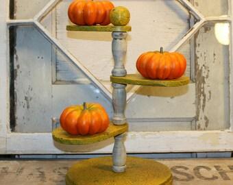 Three Tiered Wooden Stand - Vintage Decor -  Handpainted - Autumn Decor