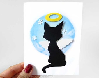 Sympathy Card, Angel Card, Black Cat Art, Blank Card, Personalized Name, Paper Cutting, Cat Lover, Custom Message, Pet Loss, Snowflakes