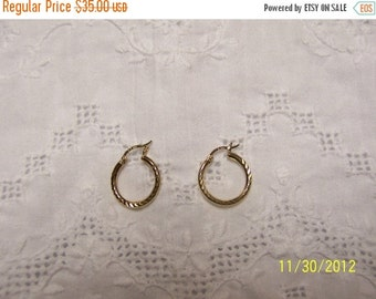 CLEARANCE SALE Diamond Cut Hoop Earrings. Gold Over Sterling Silver.