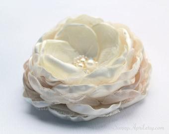 Ivory Champagne Blush Gold Hair Flower/ Brooch/ Handmade Wedding Accessory