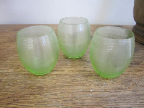 Three hand blown green stemless wine glasses ridged stemless - Hand blown stemless wine glasses ...