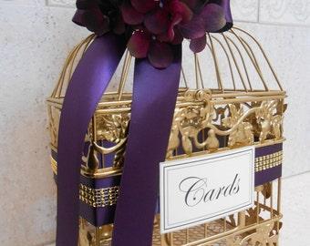 Small Gold Wedding Birdcage Card Box / Wedding Card Holder / Gold Birdcage / Purple Wedding / Wedding Decor / Cardbox