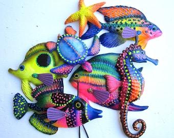 Fish wall decor,colorful wall fish,fish sculpture,key west decor