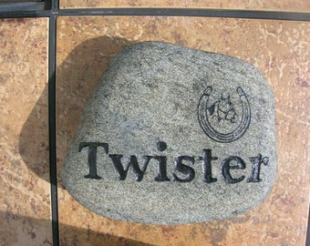engraved stone, carved stone, etched stone, horse memorial stone, wedding stone, namesake stone, pet stone, pet marker, cat stone