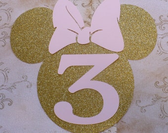 XL Minnie Mouse Head Shape 3 yr old Die Cut for crafts DIY Gold Glitter Birthday Party Banners Wall Door Decorations