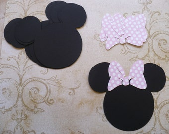 6 Minnie Mouse Head Shapes with Big Polka Dot Light Pink Bows Die Cut pieces for crafts DIY Kids Crafts Birthday Party Banners Tags etc.