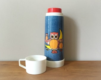 1970s Vintage Owl Thermos Retro Denim Aladdin Thermos Water Bottle