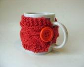 Cable Cup Cozy in Red, Mug Cozy, Tea Cozy, Mug Sleeve, Mug Sweater, Cup Warmer
