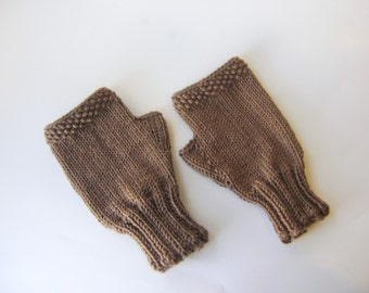 Hand Knit Fingerless Gloves in Chocolate Brown, Women's Hand Knit Gloves, wool blend soft fingerless mitts