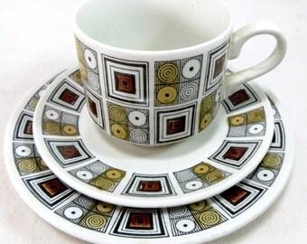 SALE! Mid Century Trio, Retro Broadhurst Kathy Winkle 'Rushstone' Geometric Squares & Circles Cup Saucer and Teaplate 1960s