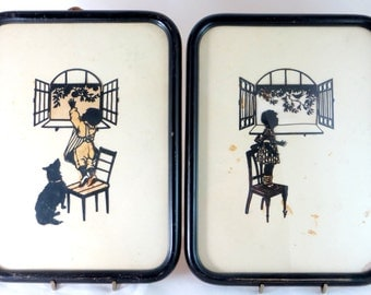 Pair Art Deco Silhouettes, Antique Original Framed Intricate Hand-Cut Paper-Craft Children at Windows by Kaskewne 1920s
