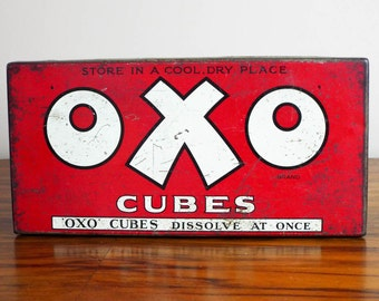 Vintage Red Oxo Cubes Tin ~ Vintage Industrial Home Decor Kitchen Canisters, Unique Housewarming Gifts, Original Storage