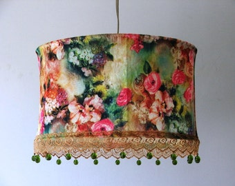 A Floral Hanging Ceiling Lamp Shade Lovely Bright Colorful Velvet Flowers Pendant Lampshade With Olive Green Crystal  Beads- Victorian Style