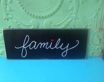 Black and White Home Decor Family Sign, Wooden Family Hanger, Gallery Wall Family Sign