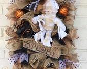 Halloween Jute Mesh  Wreath, Halloween Wreath, Halloween Mummy Wreath, Halloween Spooky Wreath, Halloween Swag