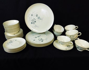 Vintage Taylor Smith and Taylor Versatile Silver Mist dinnerware set .42 pieces