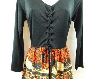 Vintage 70s maxi dress black knit laced top with red/orange abstract tribal pattern skirt