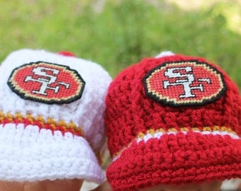 SALE San Francisco 49ers inspired cap WHITE only in size 6 to 9 months Crochet
