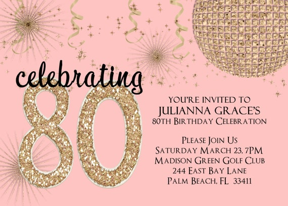 Blush and Gold Glitter 80th Birthday Invitation Any Age Adult Pink Printable Invite