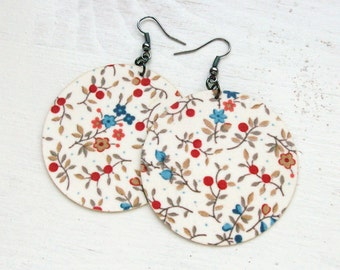 White Floral Fabric Decoupaged Earrings Textile Jewelry (MAXI)