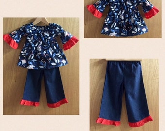 Cotton Tiered Peasant Top and Denim Ruffle Pants, size 2t