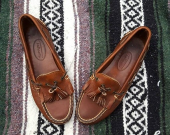 SALE///Vintage Leather Talbots Loafers with Tassels - Like New! Size 6