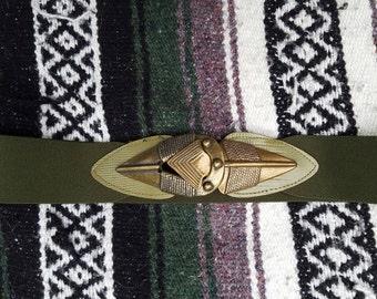 Vintage 1980's Stretch Tribal Green Belt with Brass Arrow Hardware