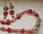 Smoked Raspberries necklace and earring set.