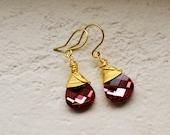 Swarovski Crystal Rose Teardrop Earrings