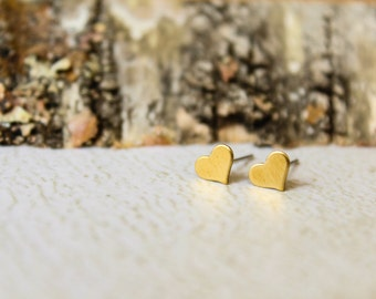Tiny Heart Earring Studs in Raw Brass, Stainless Steel Posts