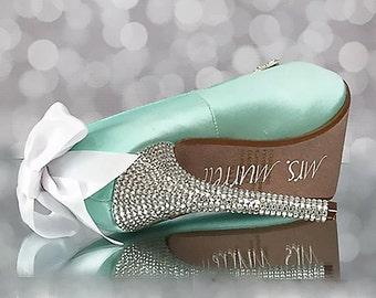 Aqua Blue Wedding Shoes / Blue Bridal Heels / Something Blue Shoes / Bling Wedding Shoes / High Heel / Custom Design / Wedding Accessories