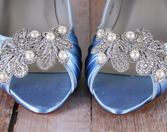 Blue Wedding Shoes Cornflower Something Pearl Accessories Crystal
