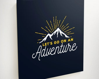 Adventure Canvas, Lets Go On An Adventure, Adventure Art, Adventure Decor, Black Canvas Art, Black Canvas, Canvas Art, Mountain Canvas