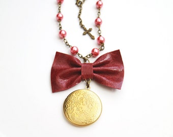 Leather red bow necklace. Spring accessories. Golden locket. Genuine leather bow pendant. Coral glass beads. Bohochic