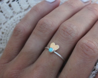 Turquoise ring, heart ring, Sterling silver ring, stacking ring, midi ring, stackable ring